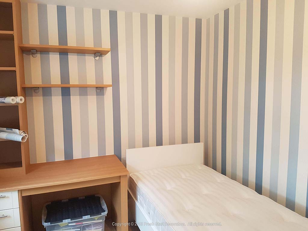 Bedroom in Solihull wallpapered by Fresh Start Decorators